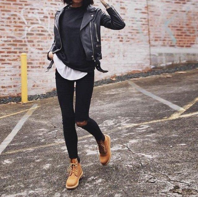long white shirt leather jacket timberland boots