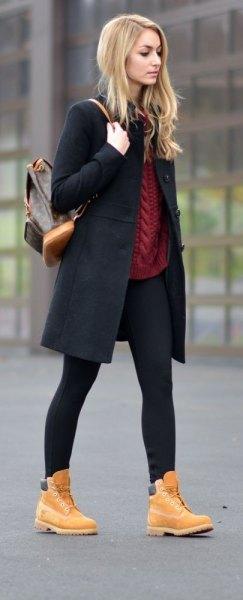 long fleece black jacket timberland boots