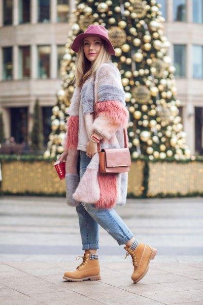 colorful faux fur jacket