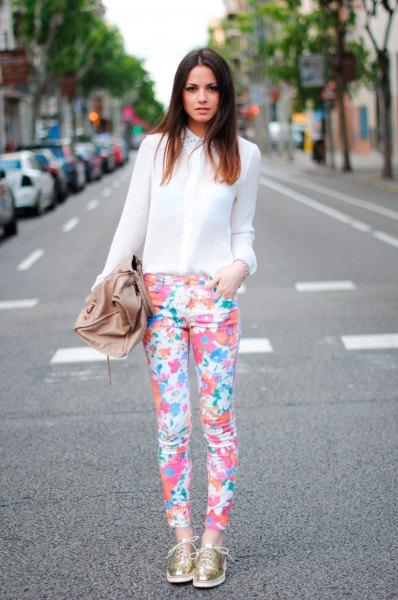 chiffon half blue white shirt floral print pants