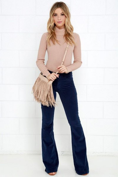 flare corduroy pants with high neck knit sweater