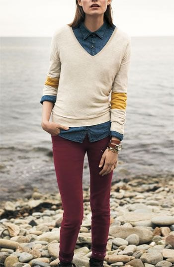 corduroy skinny pants white knitted sweater