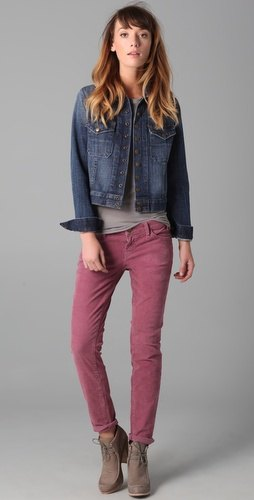 gray corduroy pants t-shirt denim jacket