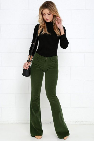 black knitted sweater green corduroy pants