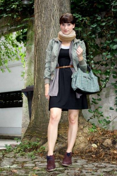 black tie waist shift dress chukka boots