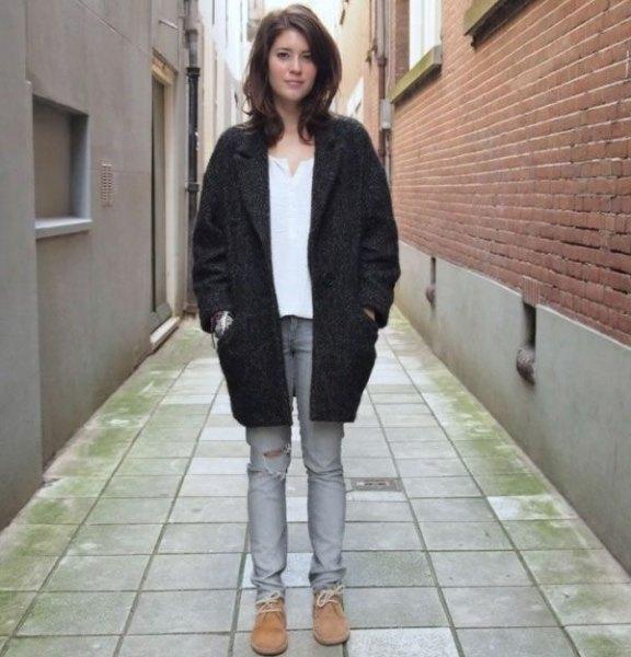 black trenchcoats jeans chukka boots