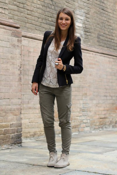 cargo pants white lace topped chukka boots