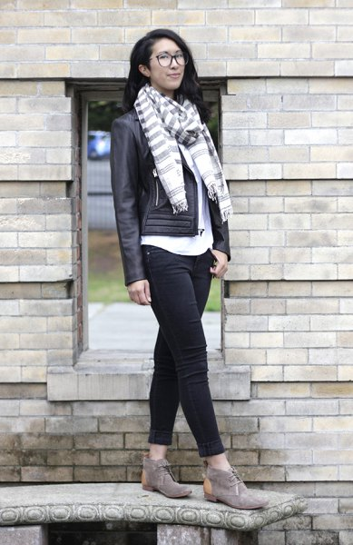 gray white striped scarf chukka boots leather jacket