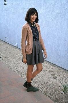 polka dot shirt chukka boots with high waist