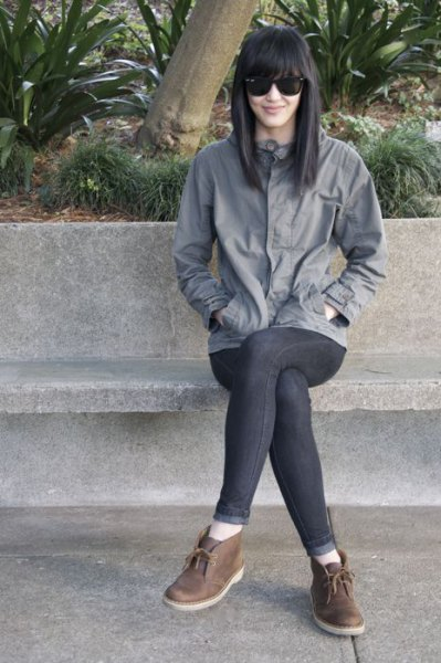gray windbreaker slim jeans chucka boots