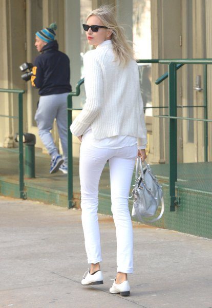 white sweaters knitted sweater pants