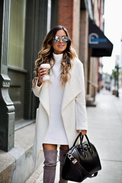 white jacket sweater dress thigh high boots