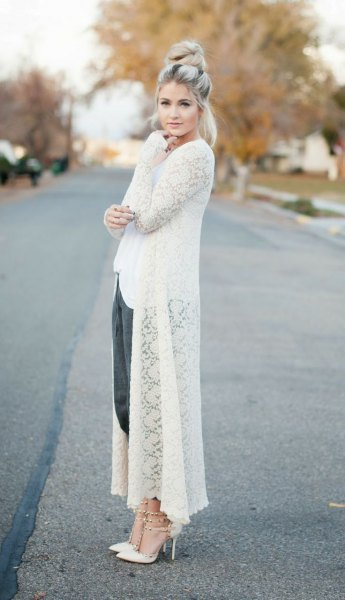 long cardigan white top suit
