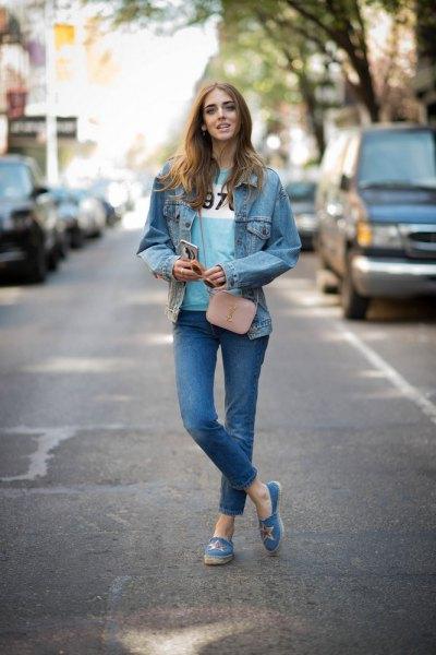 blue slip on canvas denim jacket jeans