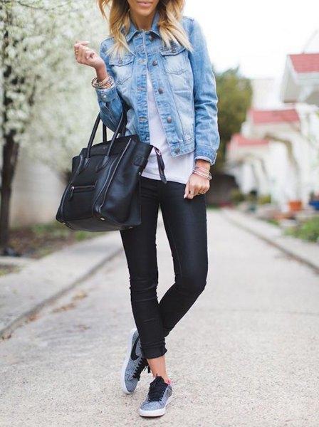 denim shirt sports tights gray nike sneakers