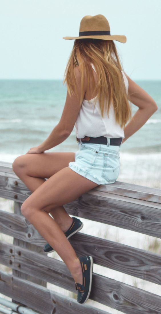 boat shoes denim shorts