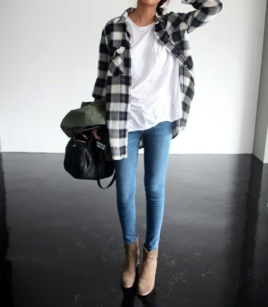 flannel sweater white tee skinny jeans