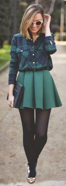 flannel shirt plaid mini skirt