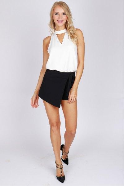 black shirt white vest top