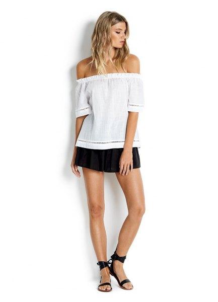 white of shoulder blouse black shirt