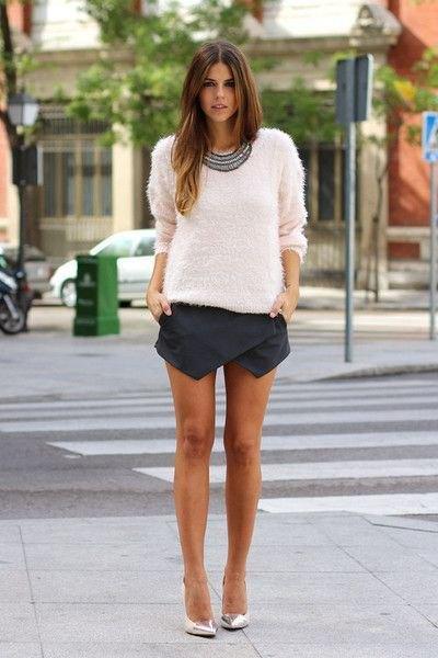 white knitted sweater black shirt