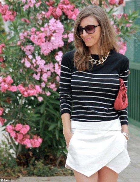 black white striped sweater white shirt