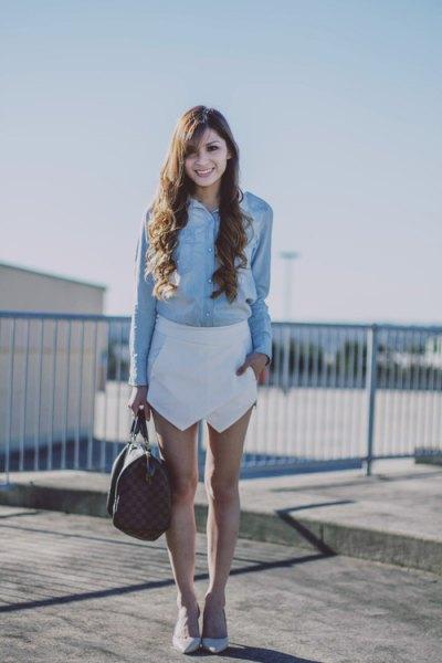 denim shirt white snort heels