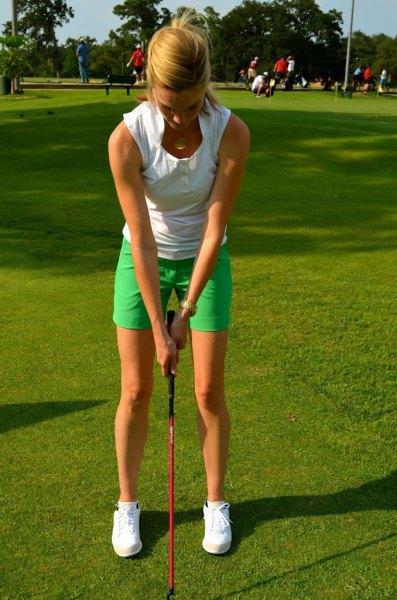 white vest top khaki golf shorts