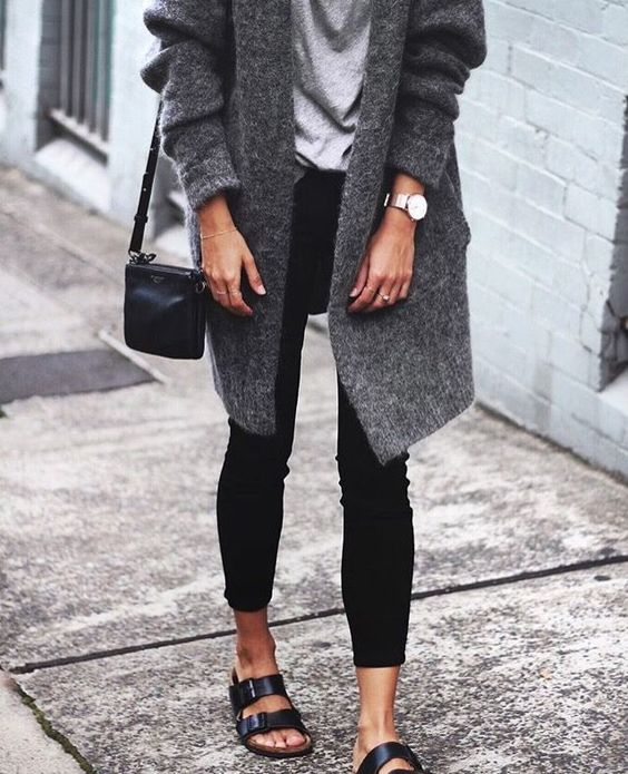black Birkenstock gray sweater