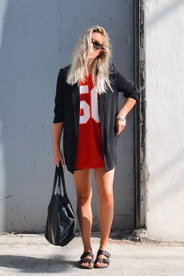 Black Birkenstock Red Dress