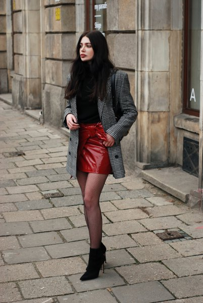 checkered oversized jacket and red leather skirt