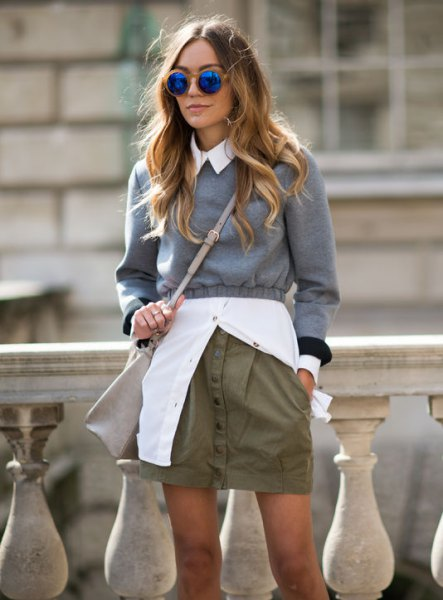 gray cropped sweater white button up shirt