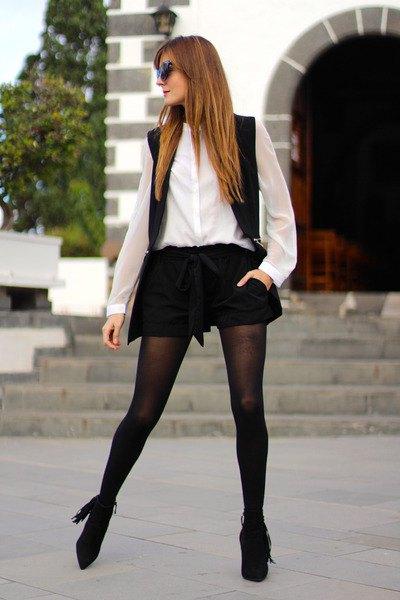 black vest shorts white collar shirt