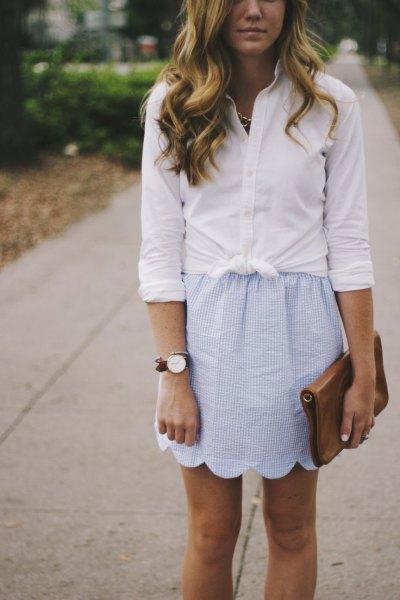 scalloped mini mini skirt tied white shirt