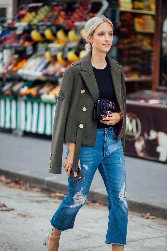 military jacket mom jeans