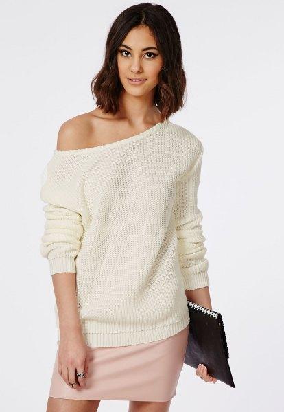 cream of shoulder knit sweater mini skirt