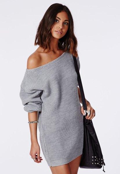 gray off shoulder knit sweater dress