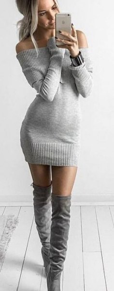 gray knitted sweater dress knee high boots