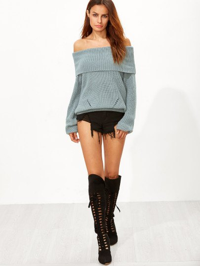 lace up knee high boots from shoulder green knitted sweater