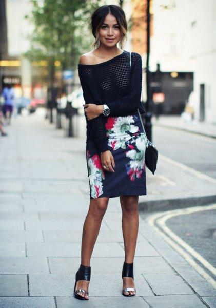 black slim fit floral skirt