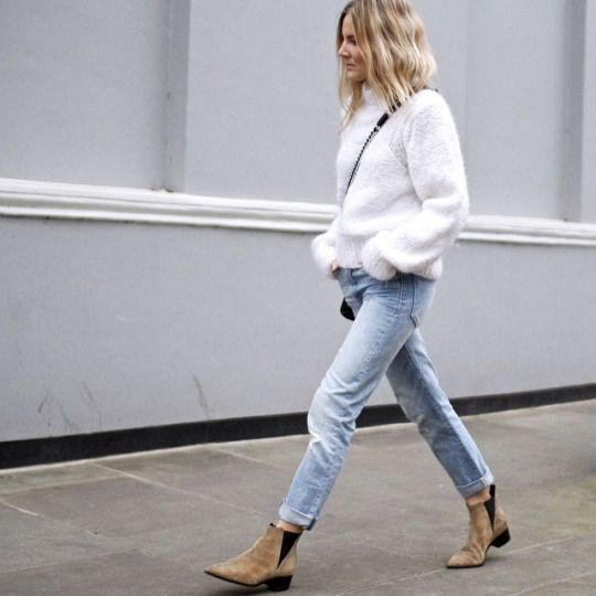 Chelsea boots fluffy sweater