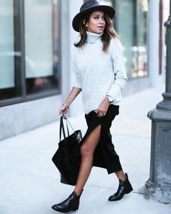 worn skirt chelsea boots