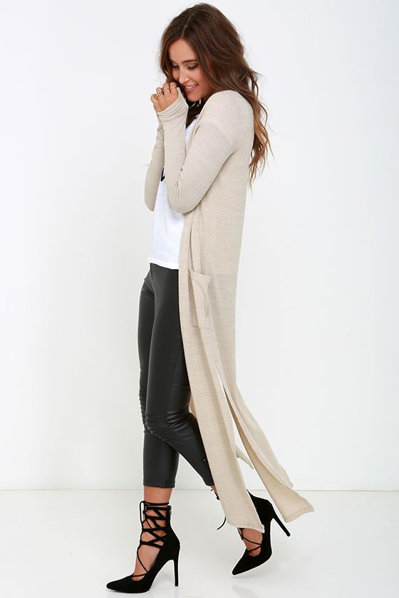 leather pants tanned long cardigan sweater