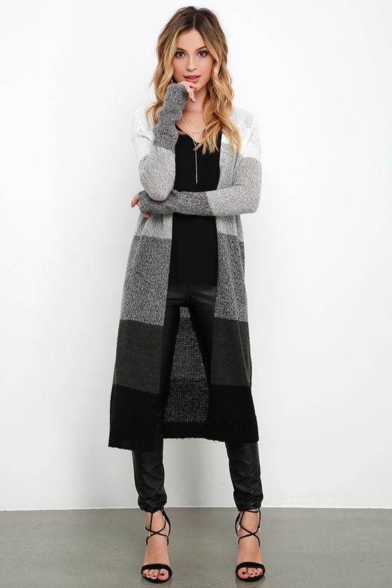gray black long cardigan sweater