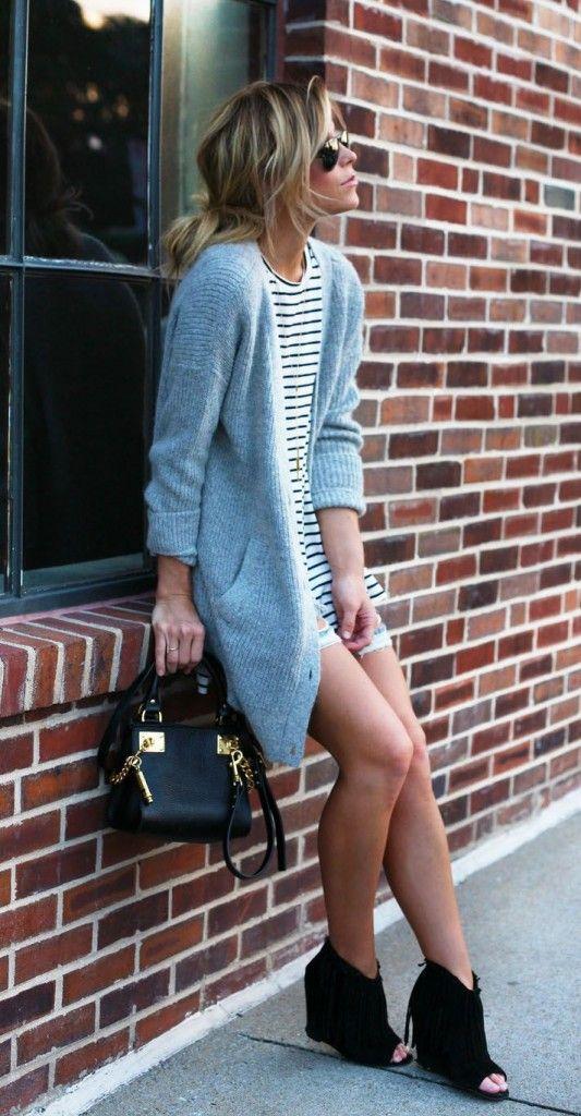 long cardigan sweater black white tee dress