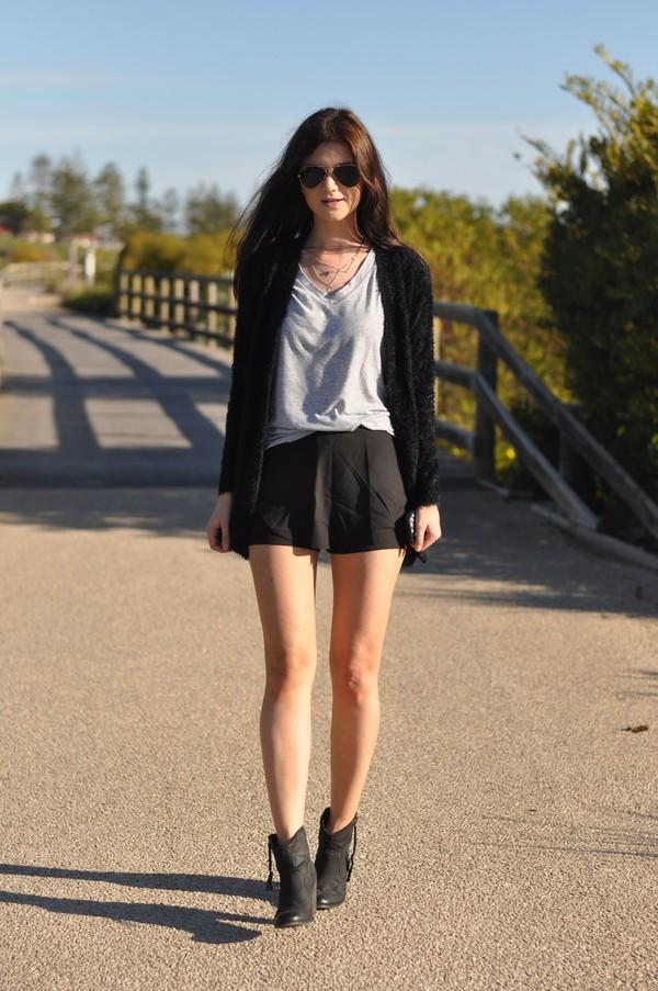 black cardigan sweater short