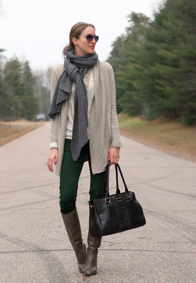 long cardigan sweater scarf knee boots