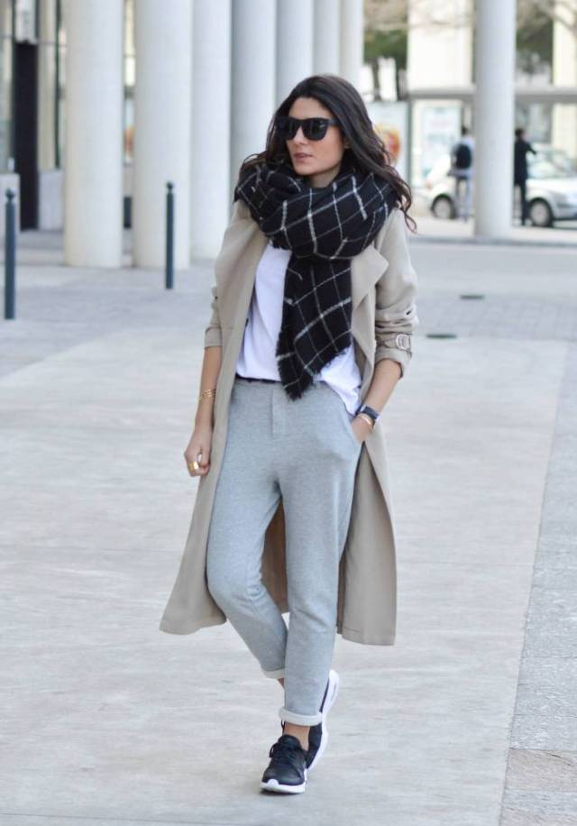 jogger pants trench coats scarf