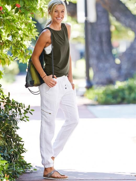 white joggers trousers sleeveless tops