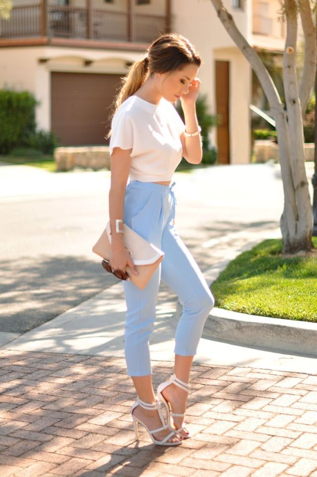 baby blue jogging pants white top